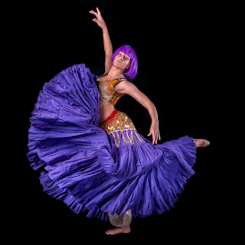 Purple Dance by Marie Otero - People Portraits of Women ( www.lostaussie.com, model, purple, belly dancer, portrait, belly, female, woman, costume, performer, dance, otero, leap, dancer )