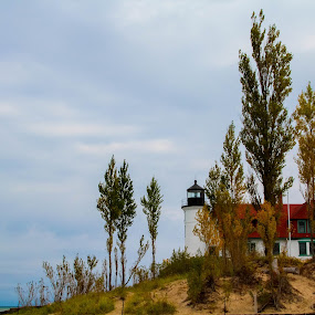 Point Betsie Lighthouse by Christine Weaver-Cimala - Buildings & Architecture Public & Historical ( michigan, structure, benzie, point betsie, lighthouse, lake, historical, public, light, channel, maritime )