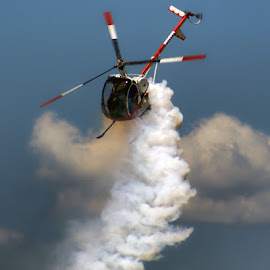 Putting on a Show by Luanne Bullard Everden - Transportation Airplanes ( clouds, airplanes, airshows, helicopters, skies )