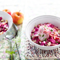 Celeriac, red cabbage and apple tabbouleh recipe with grapes and hazelnuts
