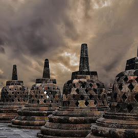 Afternoon at Borobudur Temple by Jee Cornelius - Buildings & Architecture Public & Historical
