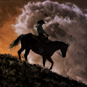 Storm Riding by Dennis Ducilla - Digital Art Animals ( cl;ouds, pony express, nevada, digital art, horse, girl rider )