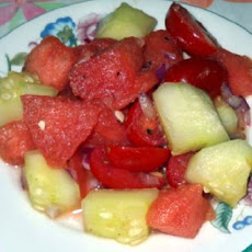 Watermelon, Cherry Tomato and Cucumber Salad
