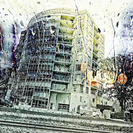 Rainy Day in Madison by Tina Altman - Buildings & Architecture Office Buildings & Hotels