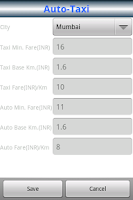 Screenshot of Auto-Taxi Route & Fare Finder