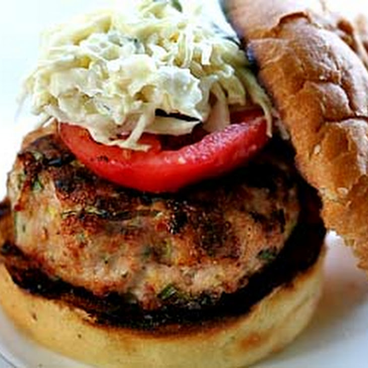 Spicy Grilled Turkey Burger with Coleslaw
