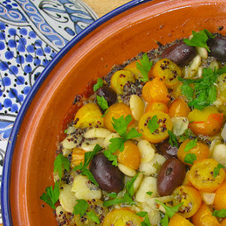 Herbed Yellow Cherry Tomato, White Lima Bean And Black Quinoa Medley