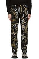 Versace Black Painted Filigree Jeans