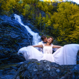 Waterfall of Love by Marius Marcoci - Wedding Bride & Groom ( love, precious moments, grooms, together )