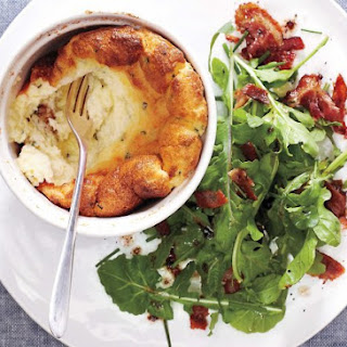 Cheese Soufflé With Bacon Arugula Salad