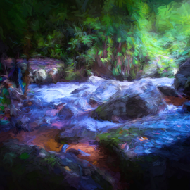 Cool Waters by Ferdinand Ludo - Painting All Painting ( kulen mountain resort, cambodia )