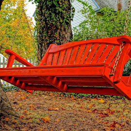 The Red Swing by Barbara Brock - Artistic Objects Furniture ( swing on chains, red swing, wooden swing, beautiful swing )