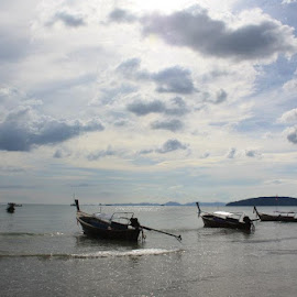 View of Aao Nang beach, Krabi by Ranjeet Adkar - Novices Only Landscapes ( clouds, sky, boats, thailand, beach, krabi )