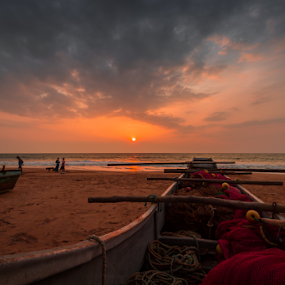 Fishing Boats Of Kosgoda by Mahdi Hussainmiya - Transportation Boats ( clouds, sunset, boats, beach, coast, water, device, transportation )