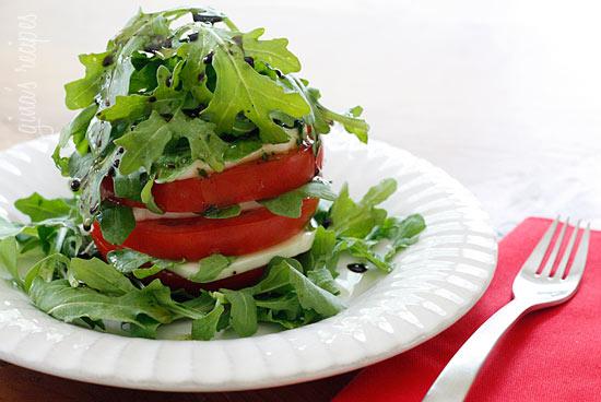 Tomato Mozzarella and Arugula Tower Recipe | Yummly