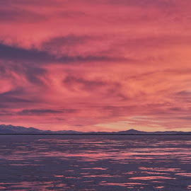 Salt Flats Sunset by Cristin Poloni - Novices Only Landscapes ( reflection, bonneville salt flats, sunset, sunsets, reflections, salt flats, landscape )