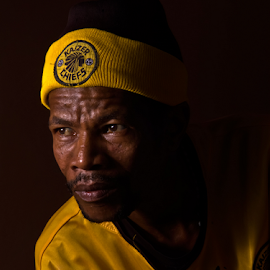 David by Trippie Visser - People Portraits of Men ( face, cap, yellow, portrait, man )
