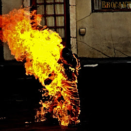 Stuntman on Fire by Sheen Deis - Abstract Fire & Fireworks ( flames, fiire, burning,  )
