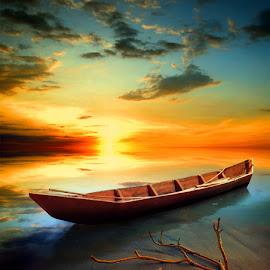 perahu kayu by Indra Prihantoro - Transportation Boats ( wood, boats, boat )