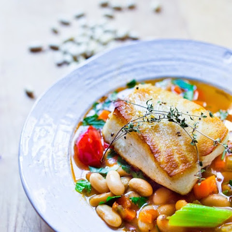 Tuscan-Style Bean Stew with Sea Bass
