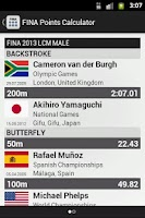 Screenshot of FINA Swim Points Calculator