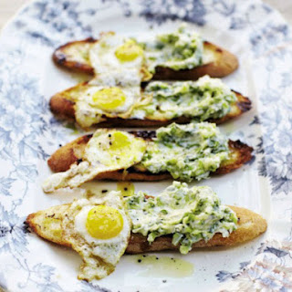 April Bloomfield's Toasts with Ramp Butter and Fried Quail Eggs