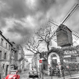 Paris - Montmartre Colour pop by Ben Hodges - City,  Street & Park  Neighborhoods ( paris, red, europe, car travel, hdr, montmartre, black & white, france, windmill )