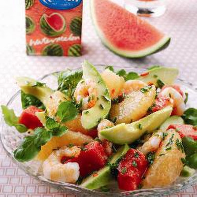 Watermelon, Prawn, Avocado And Pink Grapefruit Salad