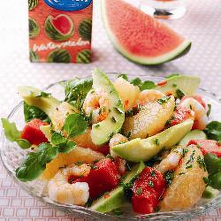 Watermelon, Prawn, Avocado And Pink Grapefruit Salad Recipe | Yummly