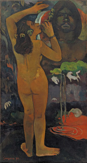 From MoMA.org: The Moon and the Earth is Gauguin's depiction of an ancient Polynesian myth, in which Hina, the female spirit of the Moon, implores Fatou, the male spirit of the Earth, to grant humans eternal life. It is a request Fatou resolutely denies. Gauguin's depiction of Hina and Fatou—marked by a great disparity in the figure's size, scale, and coloration—seems to reflect their ancient quarrel. In the foreground, Hinas nude figure is in full view, while Fatou, rendered from the chest up, looms larger than life in the background. But there is no middle ground; the distance between them appears impassable.