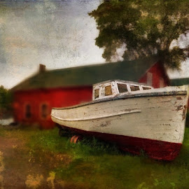 by Tracy Munson - Instagram & Mobile iPhone ( grunge, old, killarney, painterly, vintage, georgian bay, ontario, fishing, boat, antique )