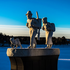 First settlers showing the way to future southern Lapland  by Ewa Nilsson - Buildings & Architecture Statues & Monuments