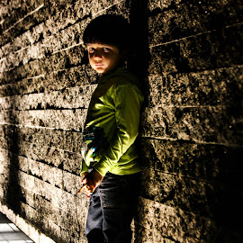 Mysterious by Soumen Bhattacharya - City,  Street & Park  Street Scenes ( child, bottom light, street, standing, wall )