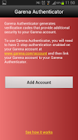 Screenshot of Garena Authenticator