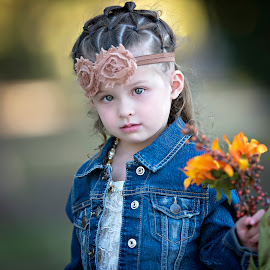 A little bit shy by Carole Brown - Babies & Children Child Portraits ( floral headband, sunflower, green eyes, white tope, denim jacket )