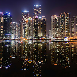 Marine City by Keith Homan - City,  Street & Park  Skylines ( reflection, homank photography., night, busan . south korea,  )