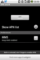 Screenshot of APN OnOff