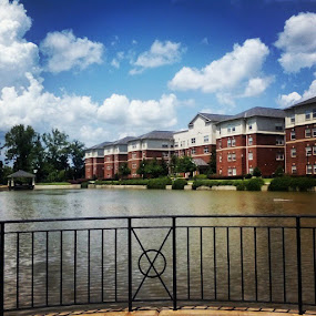A College Campus by Brianne Cronenwett - City,  Street & Park  Neighborhoods ( clouds, blue sky, college, lake, alabama, campus,  )