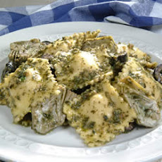 Four Cheese Ravioli with Artichoke Hearts, Olives and Pesto
