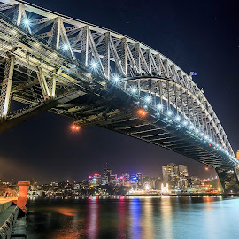 sydney bridge at night by Surya Fajri - City,  Street & Park  Night ( holiday, canon, weekend, night, bridge, sydney )