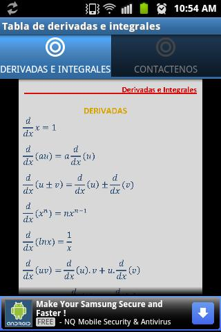 Tabla Derivadas e Integrales