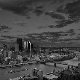 Pittsburgh-Black and White by Tarak Vandara - City,  Street & Park  Vistas ( sky, pittsburgh, black and white, letsgobucs, skylines, bridge, mononghela, river,  )