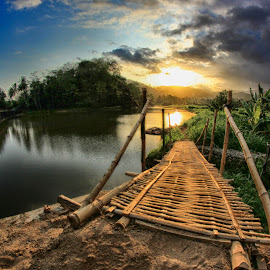Bridge in the village by Hafidz Wahyu - Landscapes Travel ( clouds, fisheye, nature, indonesia, sunset, beautiful, travel, bridge, landscape, river )