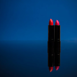 Red lipstick by Klemen Holc - Artistic Objects Clothing & Accessories ( red, blue, makeup, woman, lipstick )