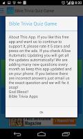 Screenshot of Free Bible Trivia Quiz Game