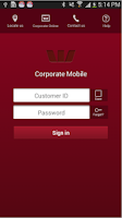 Screenshot of Westpac Corporate Mobile