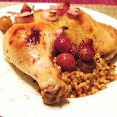 Roast Chicken Legs with Grapes and Shallots