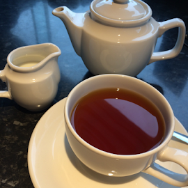 Cuppa Tea Before My Flight by Jane Jenkins - Food & Drink Alcohol & Drinks ( cup, teapot, beverages, tea, teacup )