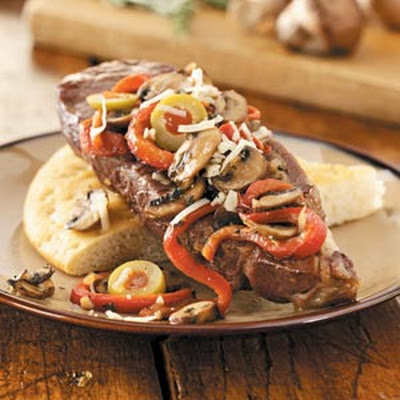 Italian Strip Steaks with Focaccia