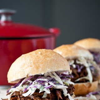 Beer Braised Pulled Pork Sandwiches with IPA Jalapeno Slaw
